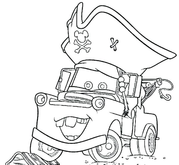600x553 Mater Coloring Pages Tow Mater Wearing Pirate Hat Coloring Pages