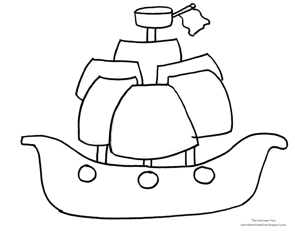 1024x811 Pirate Ship Coloring Page