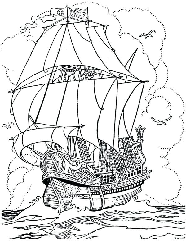 600x776 Pirate Ship Coloring Pages Pirate Ship A Big Pirate Ship Galleon
