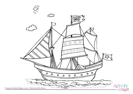 460x325 Pirate Ship Colouring Page