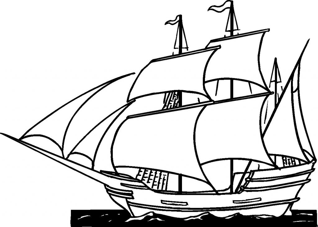1024x733 Happy Pirate Ship Coloring Pages