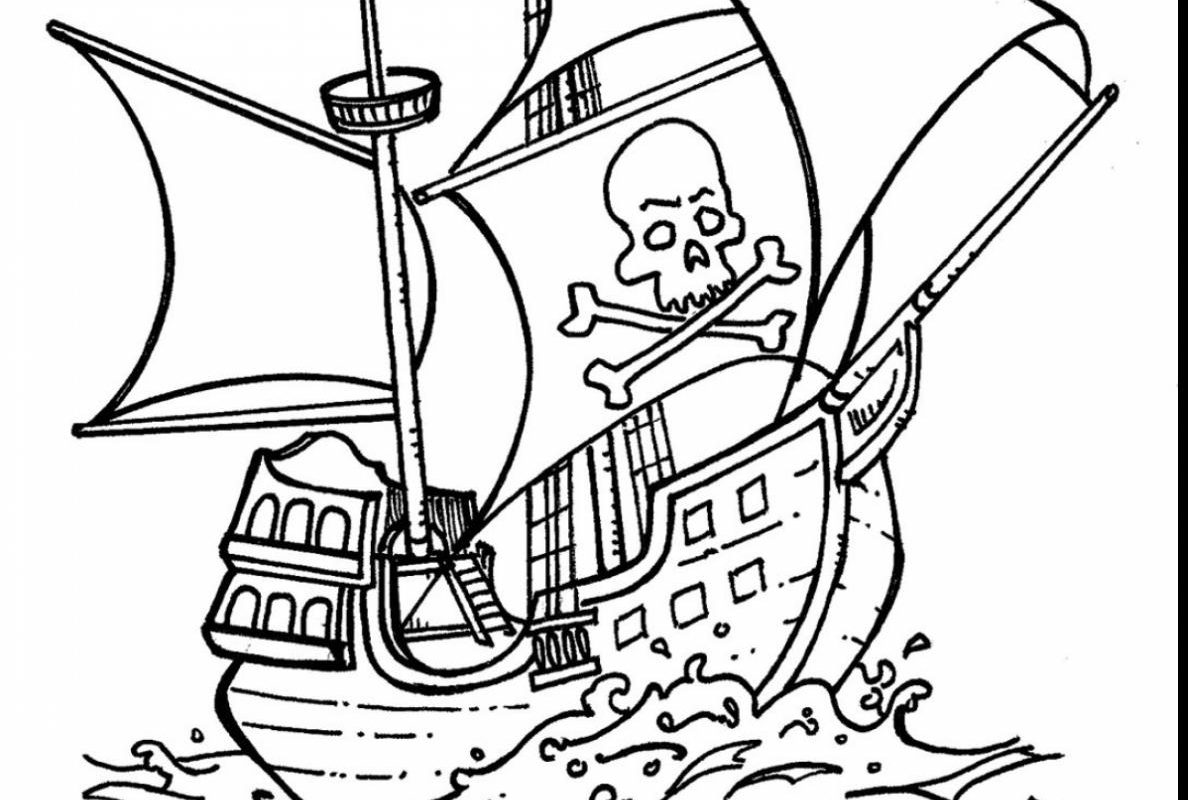 1188x800 The Brilliant Pirate Ship Coloring Page Easy For Kids Free