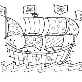 image regarding Pirate Ship Template Printable named Pirate Deliver Coloring Internet pages For Young children at