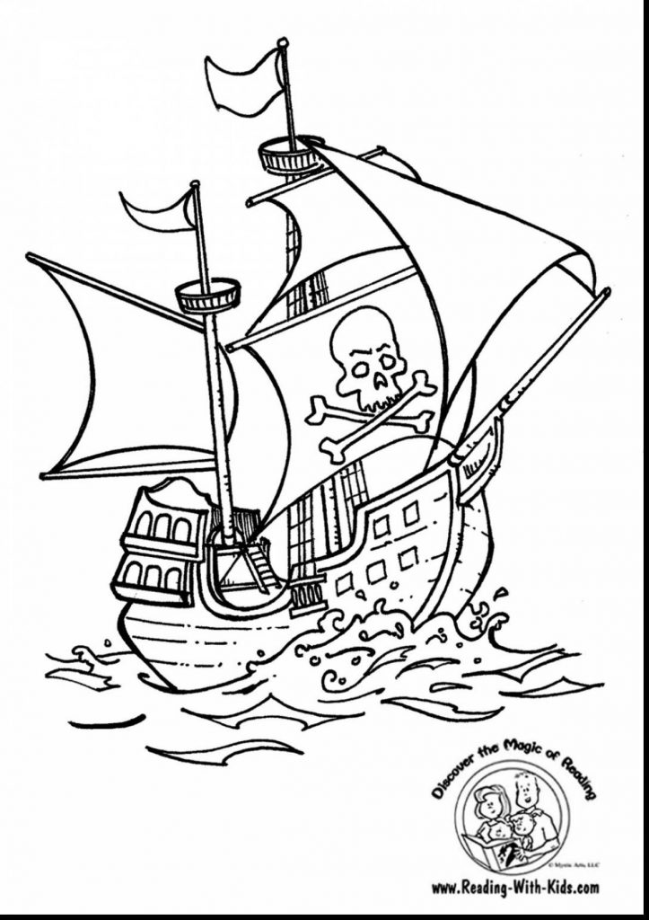 723x1024 High Seas Pirate Ship Coloring Pages Free Printable Adult And Flag