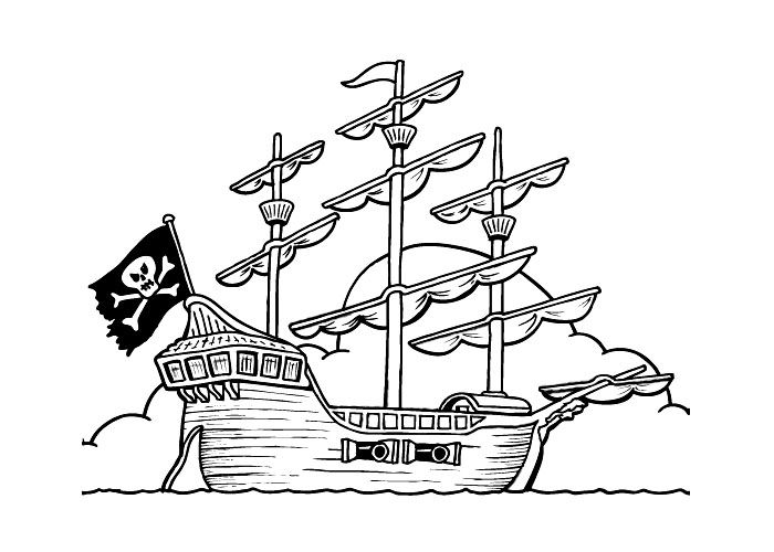 700x500 Pirate Ship Coloring Pages For Kids Printables