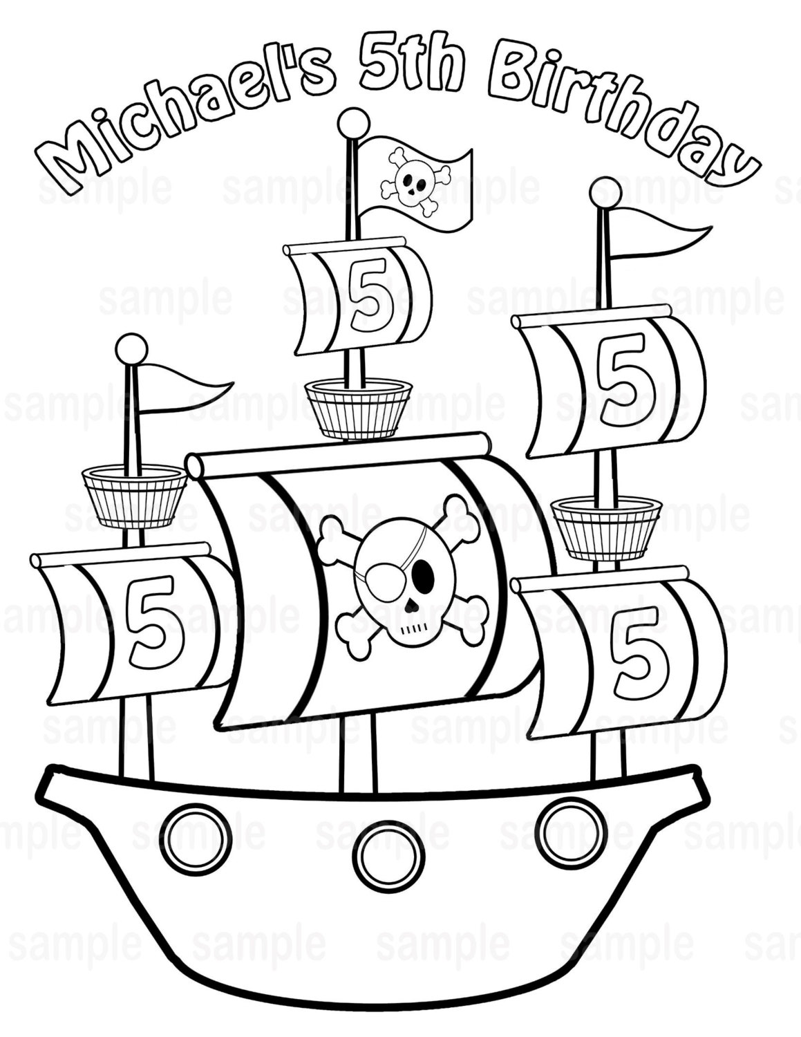 1159x1500 Pirate Ship With Captain Parrot Coloring Page