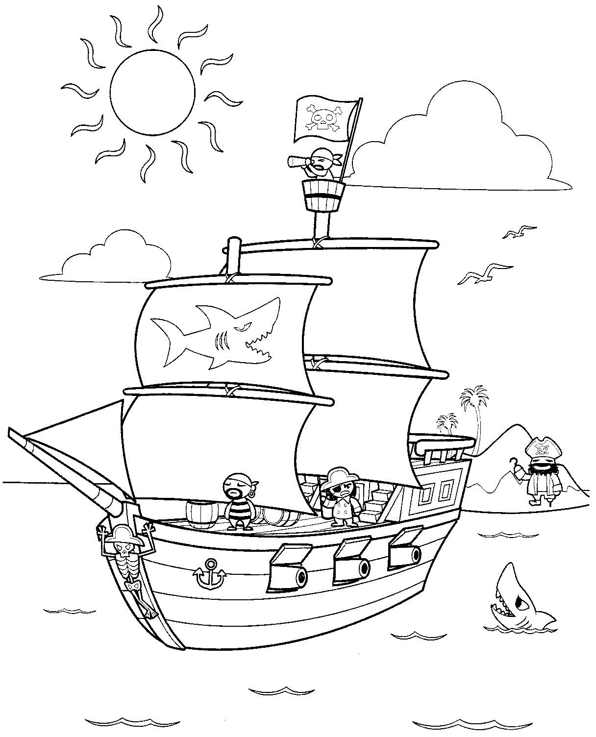 1216x1504 Pirate Ship Coloring Pages