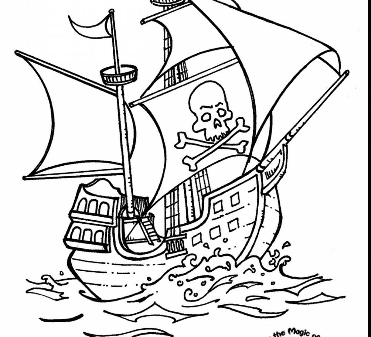 1188x1080 The Brilliant Pirate Ship Coloring Page Easy For Kids Free