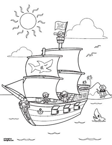 372x482 Fun Printables Pirate Ship Coloring Page Spoonful Coloring