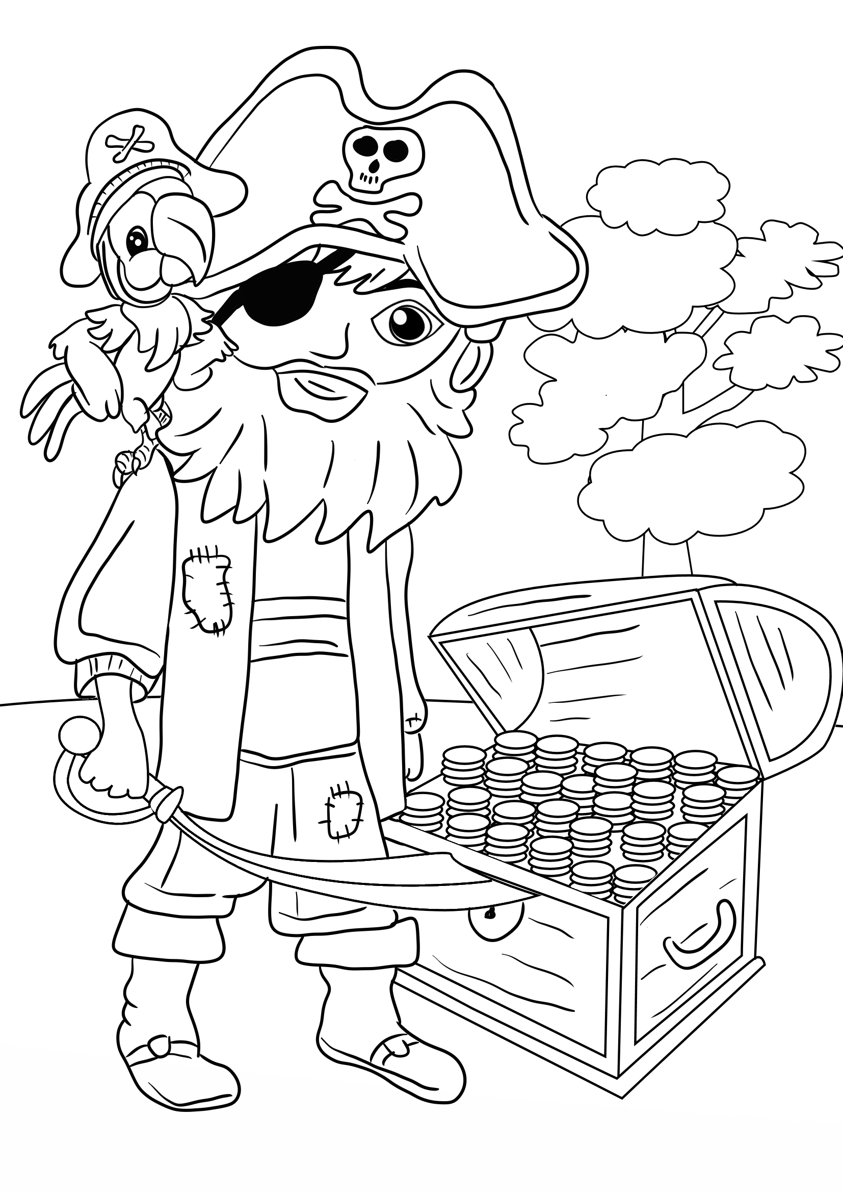 1654x2339 Pirate Treasure Chest Coloring Page For Kids Preschool
