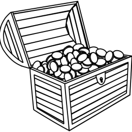 268x268 Pirate Treasure Chest With Coins Clip Art Cliparts And Others