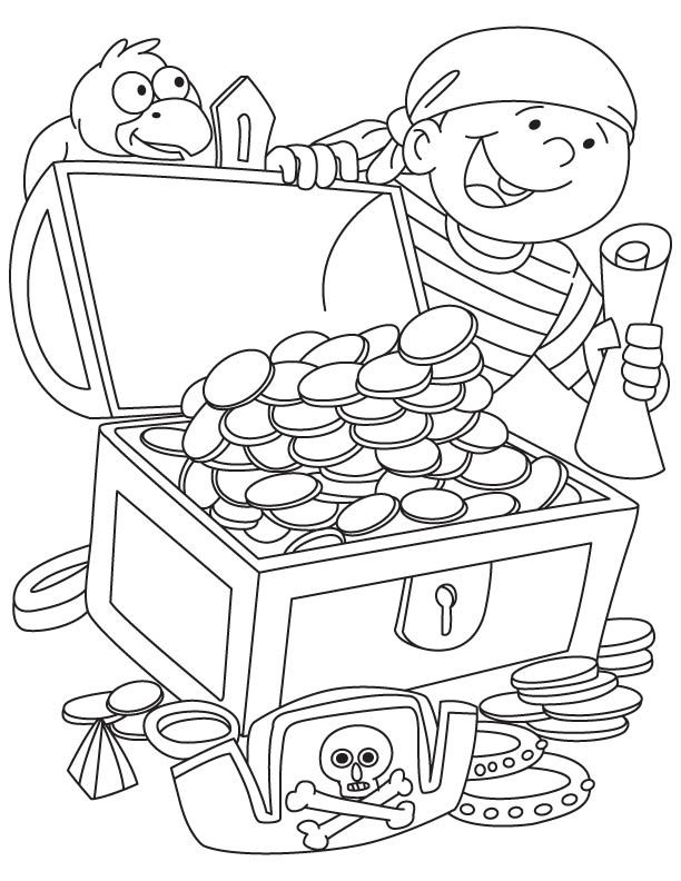 612x792 Pirate Got Treasure Chest Coloring Page Kids Activities
