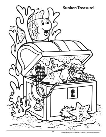 364x473 Sunken Treasure Chest Coloring Page Crafts