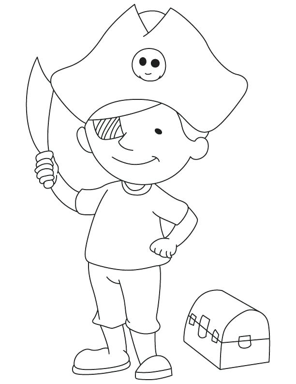 612x792 Treasure Chest Coloring Pages Pirate Boy With Treasure Chest