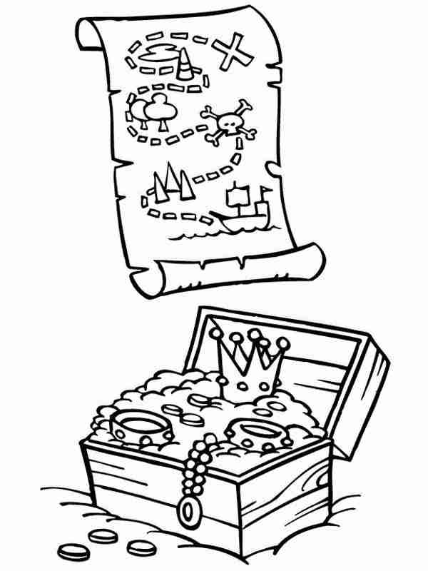 600x800 Beautiful Treasure Chest Coloring Page In Print Pages Tearing
