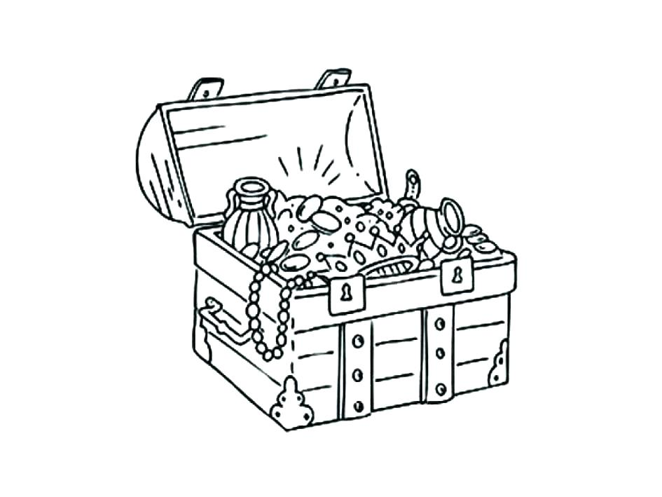 945x709 Open Treasure Chest Coloring Page