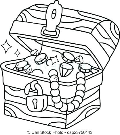 417x470 Pirate Treasure Chest Colouring Page Coloring Pages Collection