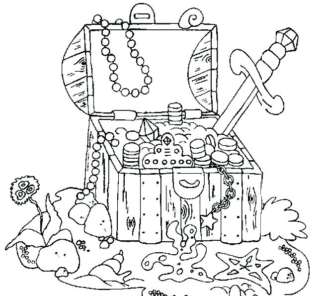 640x595 Treasure Chest Coloring Page