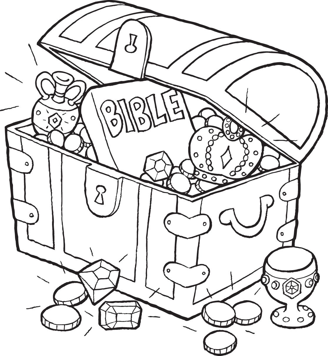 1115x1212 Bible Treasure Chest Coloring Page