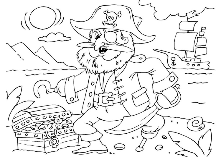 750x531 Coloring Page Pirate With Treasure Chest