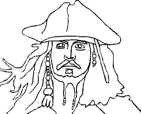 495x399 Jack Sparrow Coloring Page