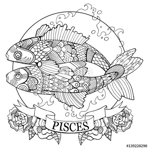 500x500 Pisces Zodiac Sign Coloring Page For Adults On Fotolia
