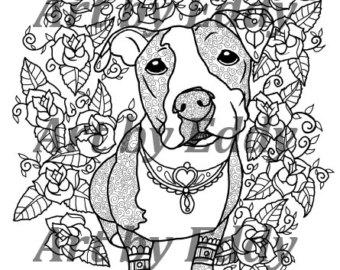 340x270 Pitbull Coloring Etsy