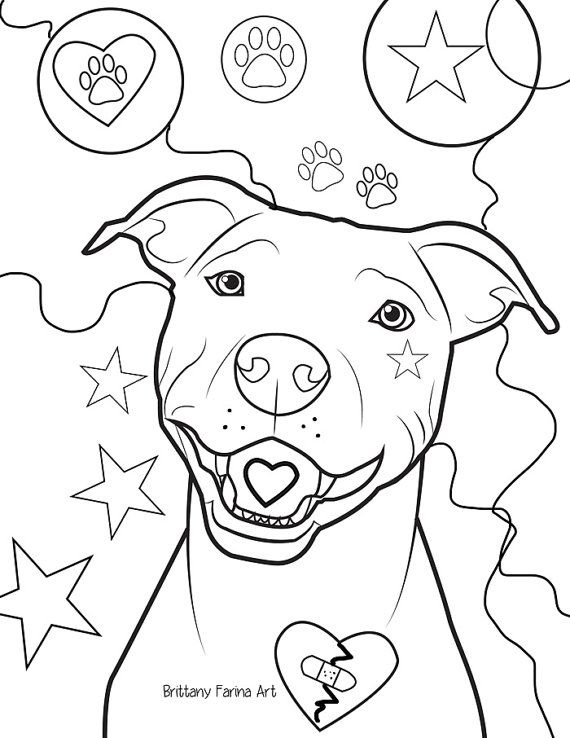 570x738 Pitbull Coloring Page, Coloring Page Etsy, Coloring Books