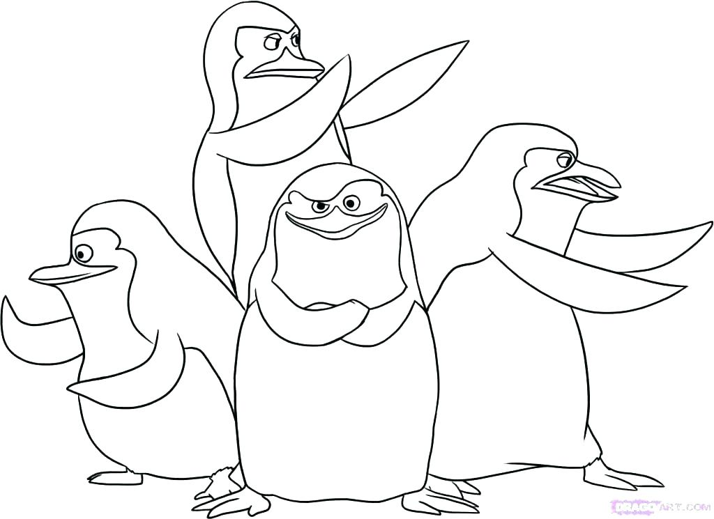 1024x745 Penguins Coloring Page Happy Penguin Coloring Page Penguins