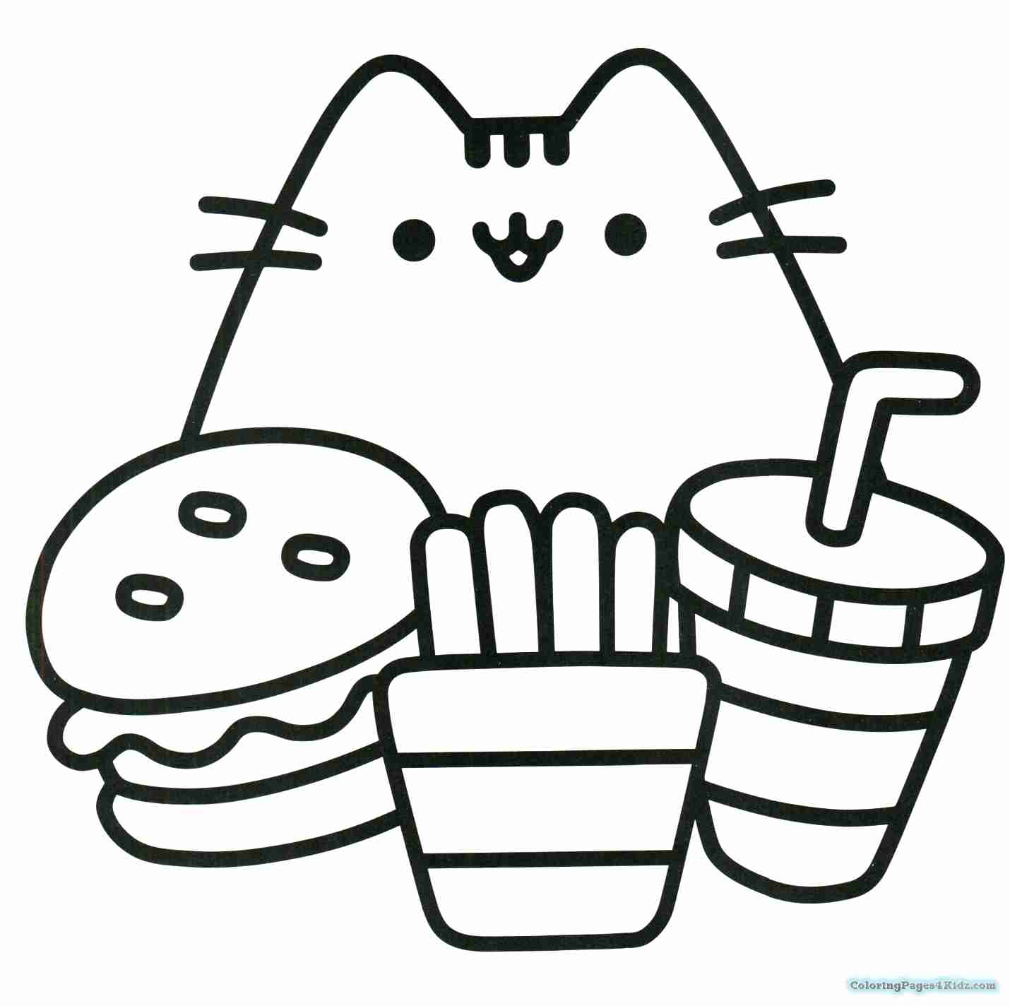 1430x1424 Pusheen Holding A Pizza Coloring Pages For Kids In Olegratiy
