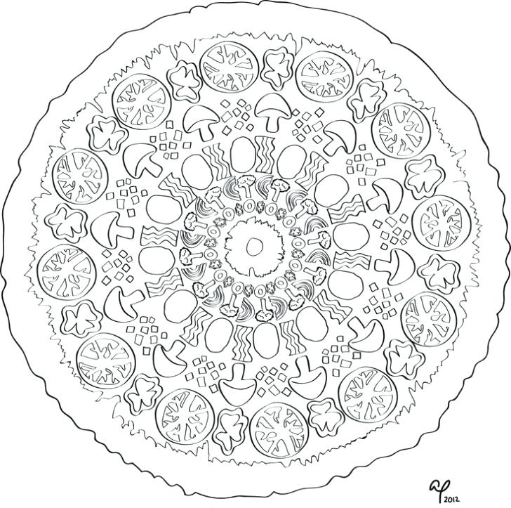 728x723 Coloring Page Pizza Free Printable Pizza Coloring Pages Images