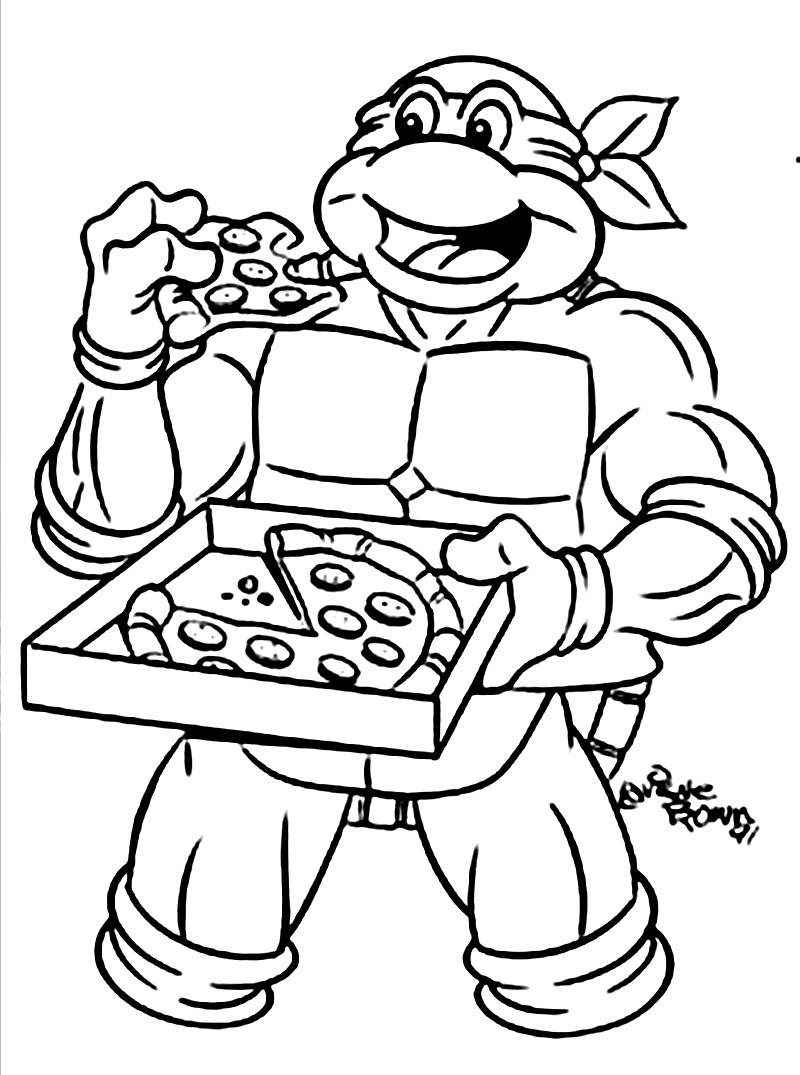 800x1075 Ninja Turtle Coloring Pages Eat Pizza