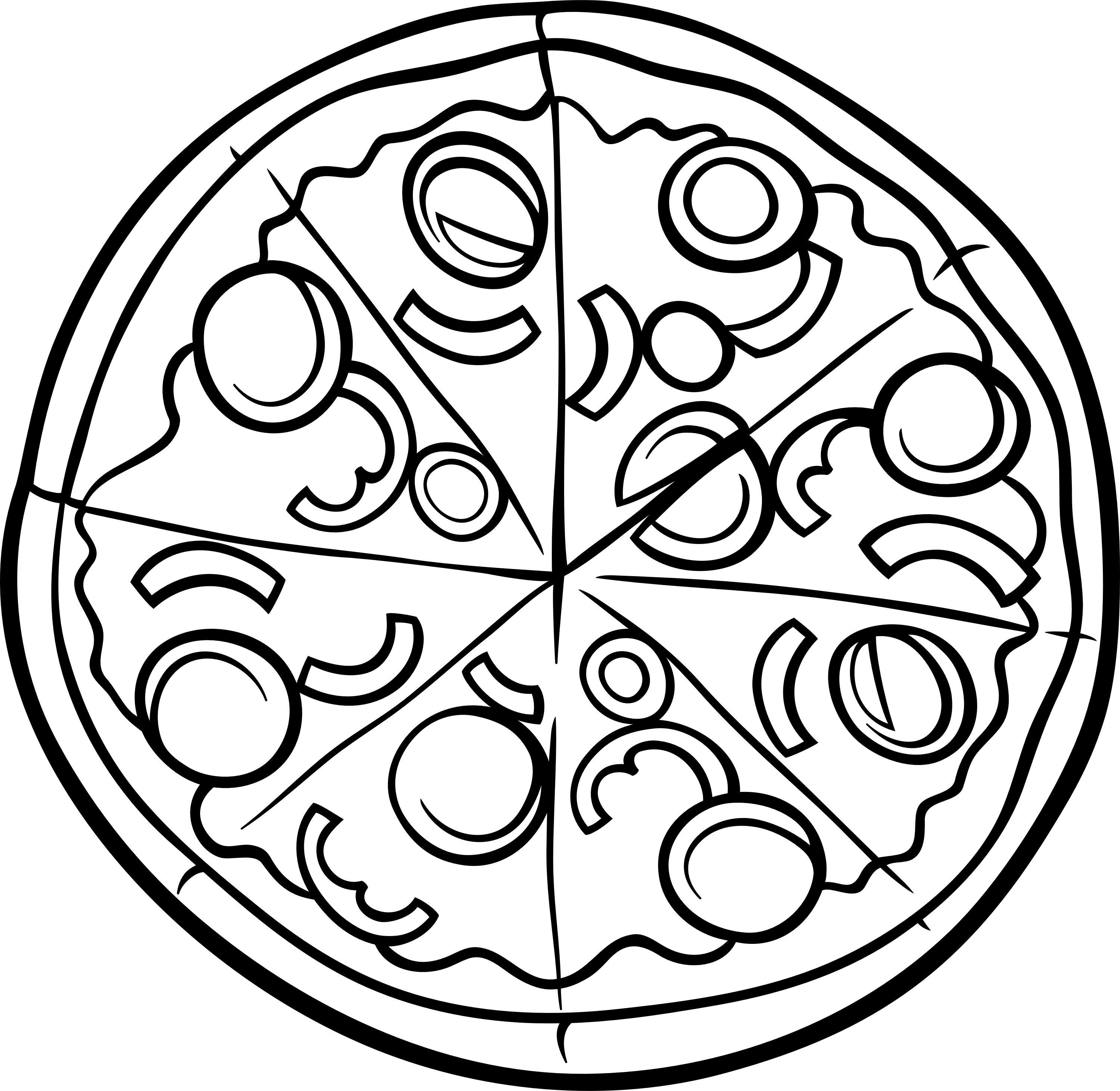 3000x2922 Pizza Coloring Page Printable Food Art