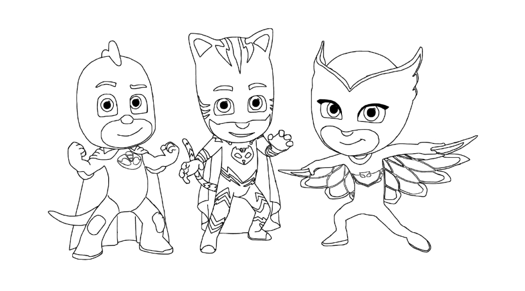 1024x568 Pj Masks Coloring Pages Free