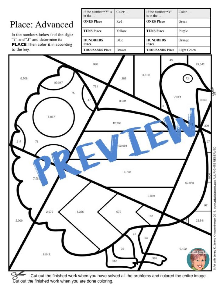 724x945 Place Value Coloring Sheets W Designs For The Entire Year