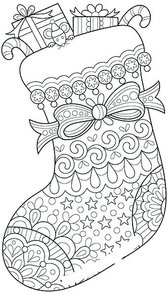 Plain Christmas Stocking Coloring Pages