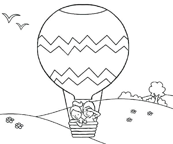 600x500 Hot Air Balloon Coloring Page Plain Decoration Hot Air Balloon