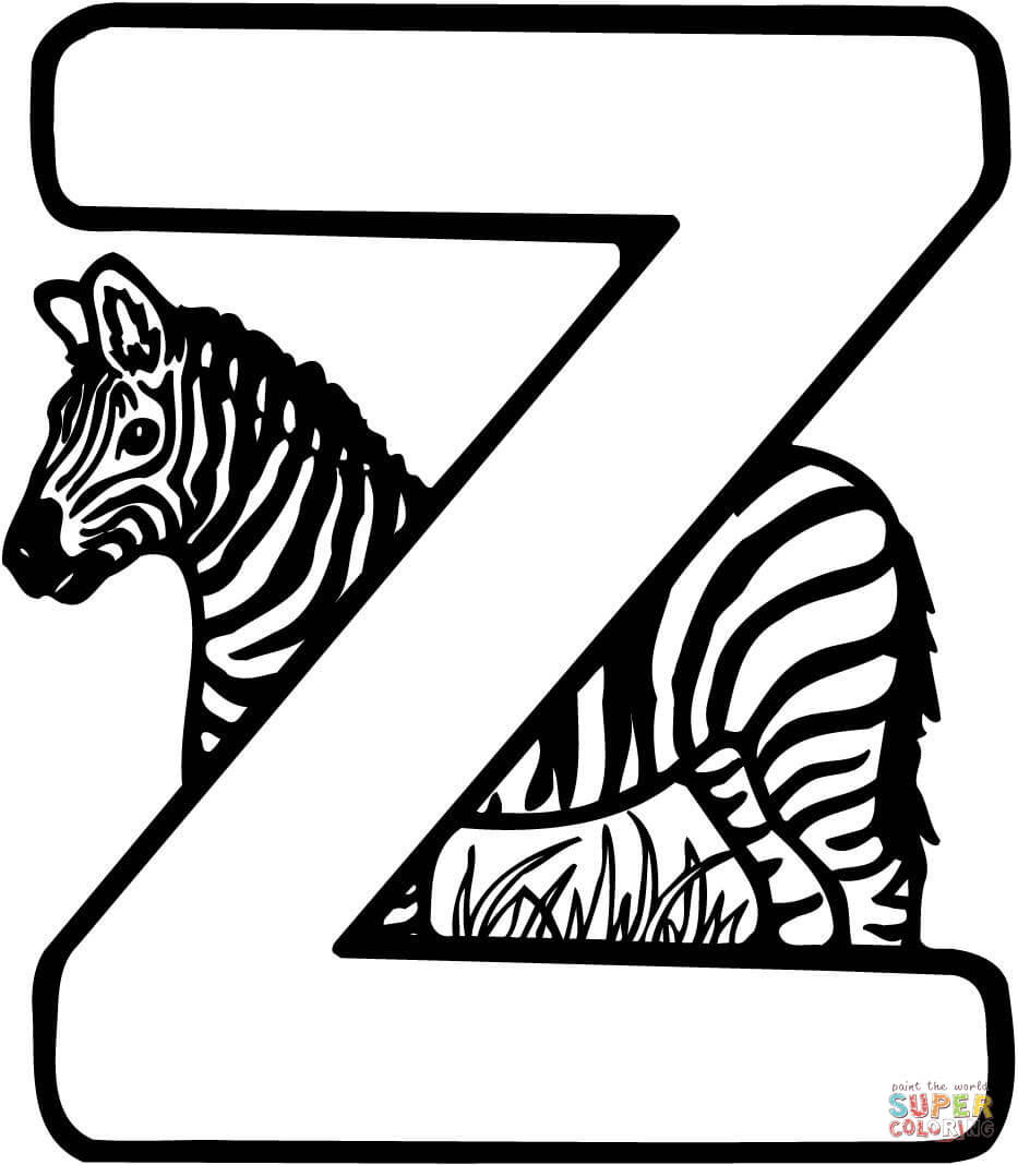 933x1068 Fascinating The Letter Z Coloring Pages Is For Zebra Page Free