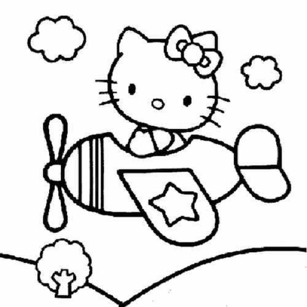 600x600 Hello Kitty In Plane Coloring Pages Coloring Pages