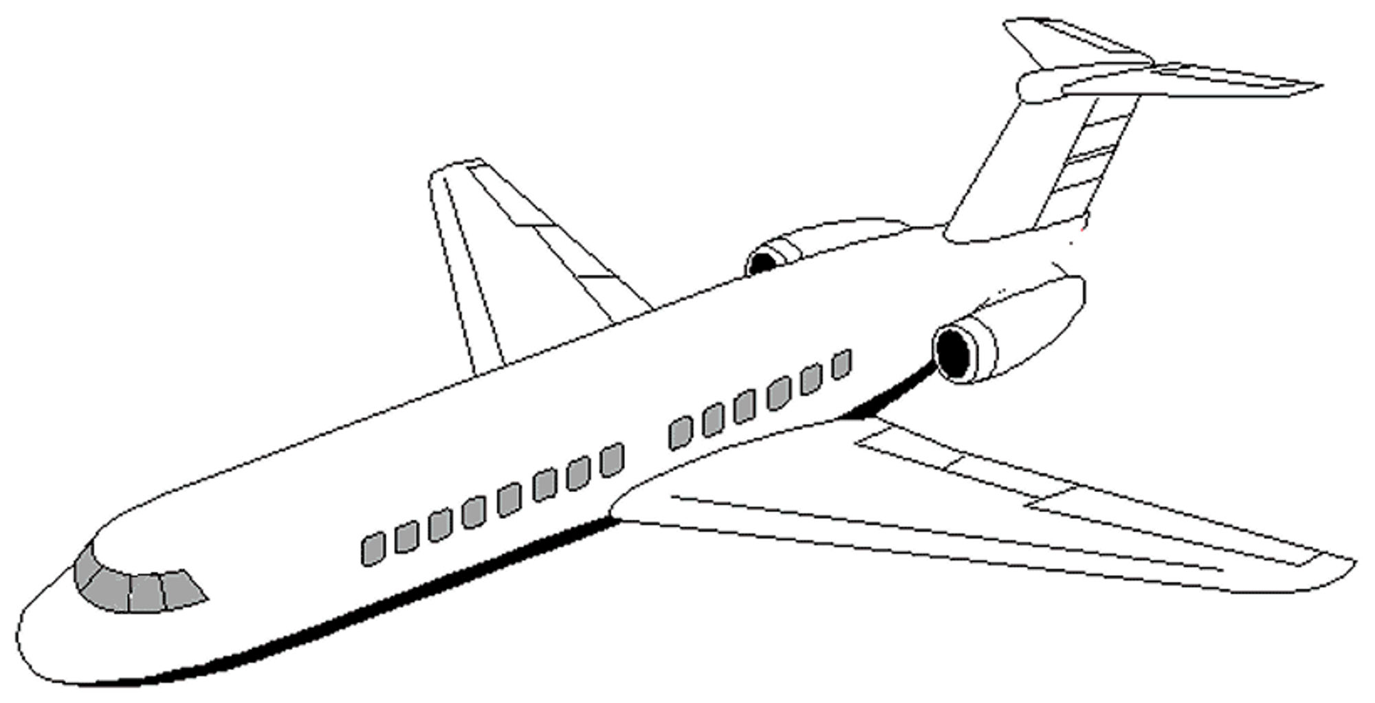 2000x1023 Impressive Airplane Picture To Color Pictures