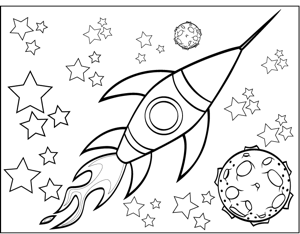 300x234 Rocketship And Planet Coloring Page