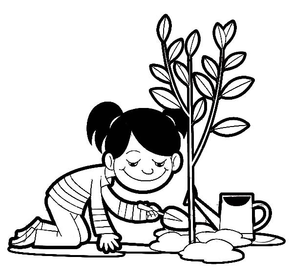 600x569 A Girl Planting A Tree On Arbor Day Coloring Pages Best Place