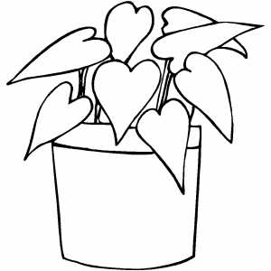 300x300 Plant With Heart Leaves Coloring Sheet