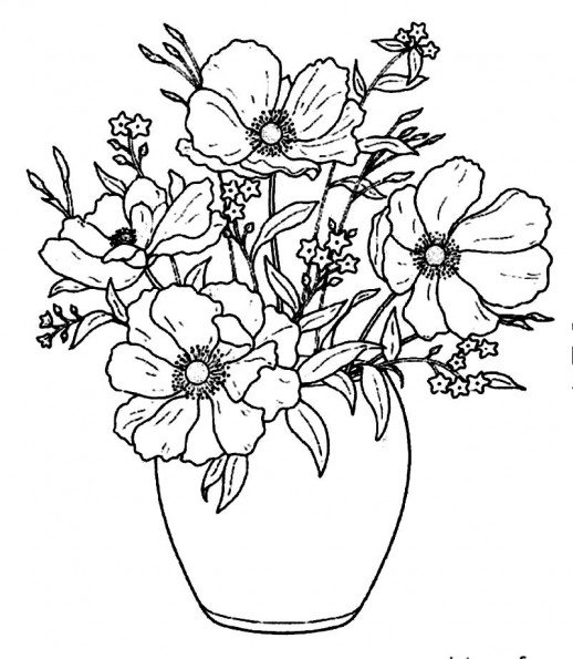 518x595 Pretty Flowers In Simple Vase Beautify Your House Coloring Pages