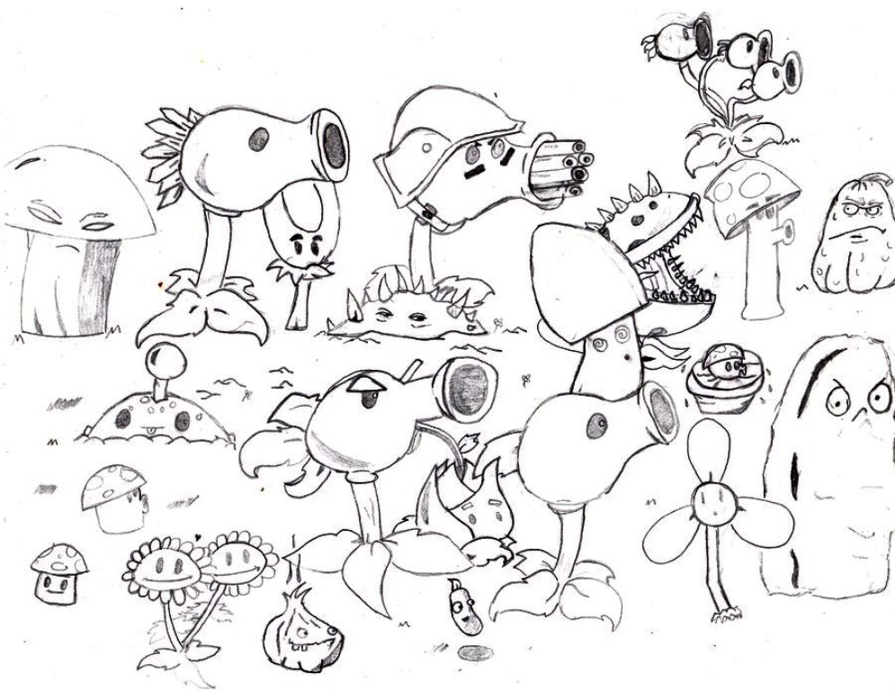 995x768 Plants Vs Zombies Coloring Pages To Print Classic Style Plants
