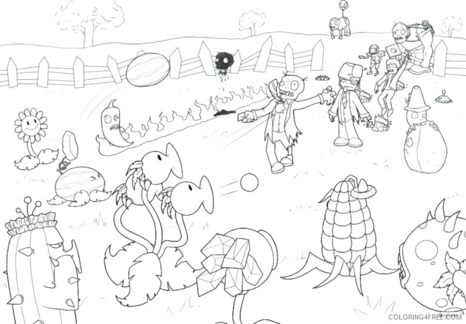 960x668 Plants Vs Zombies Coloring Together With Plants Vs Zombies