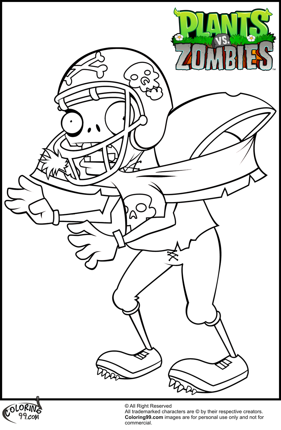 980x1500 Plants Vs Zombies Football Zombie Coloring Pages About Plants Vs