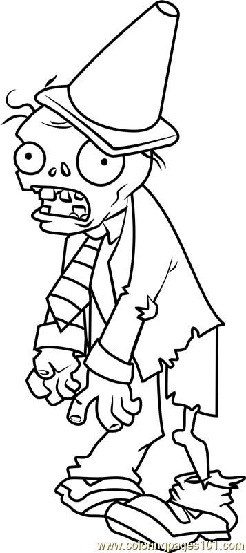 357x800 Conehead Zombie Coloring Page