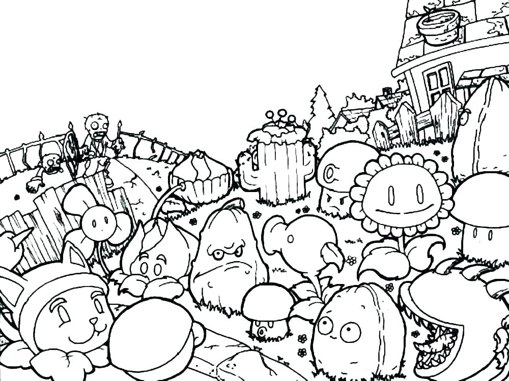 1000x750 Plants Vs Zombies Coloring Pages Coloring Pages Of Plants Plant Vs