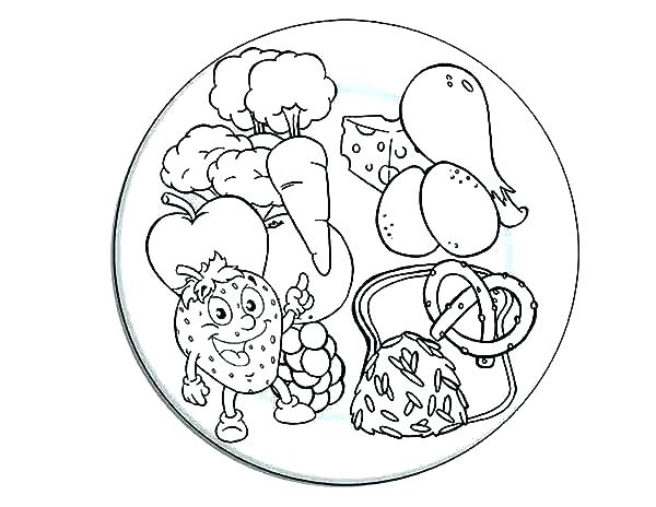 600x464 Colouring Pages Of Healthy Foods Healthy Food Plate Coloring Page